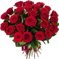 25 бордовых роз