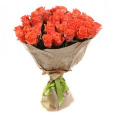 "25 коралловых роз ""WOW"" в крафте"