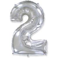 "Шар - Цифра ""2""  (40""/102 см)  Цвет: Серебро"