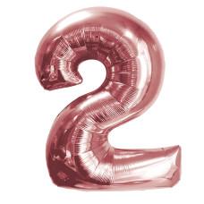 """Шар - Цифра """"2""""  (40""""/102 см)  Цвет: Розовое золото"""