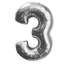 "Шар - Цифра ""3""  (40""/102 см)  Цвет: Серебро"