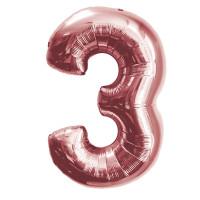 """Шар - Цифра """"3""""  (40""""/102 см)  Цвет: Розовое золото"""