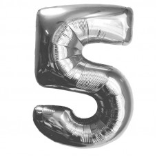 "Шар - Цифра ""5""  (40""/102 см)  Цвет: Серебро"