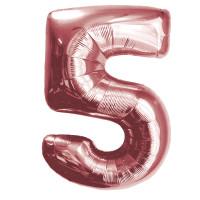 """Шар - Цифра """"5""""  (40""""/102 см)  Цвет: Розовое золото"""