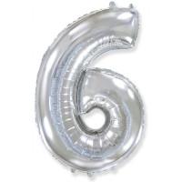 "Шар - Цифра ""6""  (40""/102 см)  Цвет: Серебро"