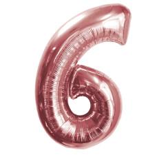 """Шар - Цифра """"6""""  (40""""/102 см)  Цвет: Розовое золото"""