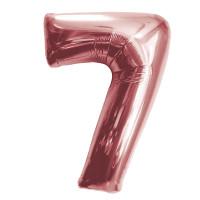 """Шар - Цифра """"7""""  (40""""/102 см)  Цвет: Розовое золото"""
