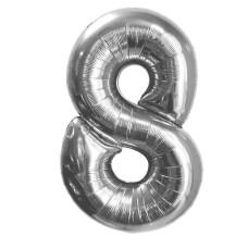 "Шар - Цифра ""8""  (40""/102 см)  Цвет: Серебро"