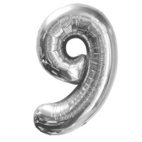 "Шар - Цифра ""9""  (40""/102 см)  Цвет: Серебро"