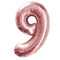 """Шар - Цифра """"9""""  (40""""/102 см)  Цвет: Розовое золото"""