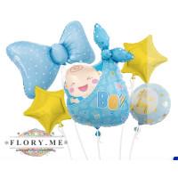 Набор шаров (36''/91 см) Новорожденный, Малыш Мальчик, Голубой, 5 шт. в упак. с гелием