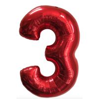 """Шар - Цифра """"3""""  (40""""/102 см)  Цвет: Красный"""