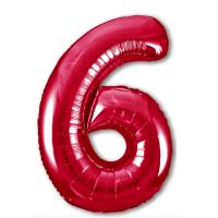 """Шар - Цифра """"6""""  (40""""/102 см)  Цвет: Красный"""