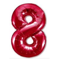 """Шар - Цифра """"8""""  (40""""/102 см)  Цвет: Красный"""