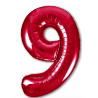 """Шар - Цифра """"9""""  (40""""/102 см)  Цвет: Красный"""