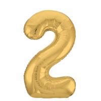 """Шар - Цифра """"2""""  (40""""/102 см)  Цвет: Золото"""