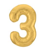 """Шар - Цифра """"3""""  (40""""/102 см)  Цвет: Золото"""