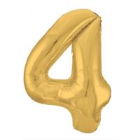 """Шар - Цифра """"4""""  (40""""/102 см)  Цвет: Золото"""