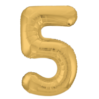 """Шар - Цифра """"5""""  (40""""/102 см)  Цвет: золото"""