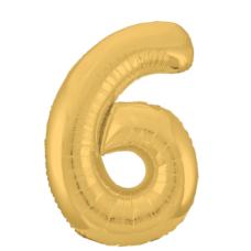 """Шар - Цифра """"6""""  (40""""/102 см)  Цвет: Золото"""