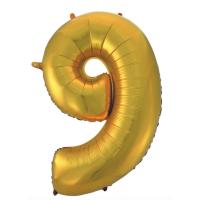 """Шар - Цифра """"9""""  (40""""/102 см)  Цвет: золото"""