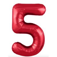 """Шар - Цифра """"5""""  (40""""/102 см)  Цвет:Красный"""