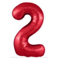 """Шар - Цифра """"2""""  (40""""/102 см)  Цвет: Красный"""