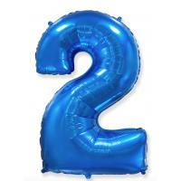 """Шар - Цифра """"2""""  (40""""/102 см)  Цвет:Синий"""