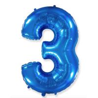 """Шар - Цифра """"3""""  (40""""/102 см)  Цвет: Синий"""