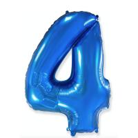 """Шар - Цифра """"4""""  (40""""/102 см)  Цвет: синий"""