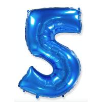 """Шар - Цифра """"5""""  (40""""/102 см)  Цвет: Синий"""