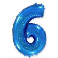 """Шар - Цифра """"6""""  (40""""/102 см)  Цвет: Синий"""