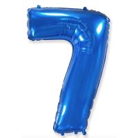 """Шар - Цифра """"7""""  (40""""/102 см)  Цвет: Синий"""