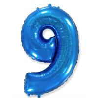 """Шар - Цифра """"9""""  (40""""/102 см)  Цвет: Синий"""