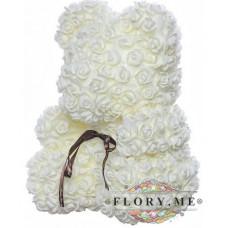 Мишка из роз с бантиком в подарочной коробочке ( Белый) 40 см