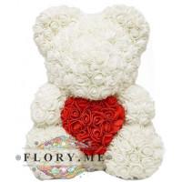 Мишка из роз с сердечком в подарочной коробочке ( Белый) 40 см
