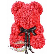 Мишка из роз с бантиком в подарочной коробочке ( Красный) 40 см