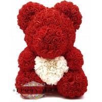 Мишка из роз с сердечком в подарочной коробочке (Красный) 40 см