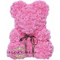 Мишка из роз с бантиком в подарочной коробочке ( Розовый) 40 см