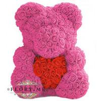 Мишка из роз с сердечком в подарочной коробочке (Розовый) 40 см