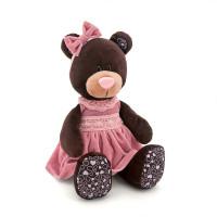 Медведица Milk сидячая в розовом бархатном  платьице