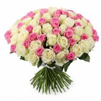 101 подмосковная роза микс: белые и розовые