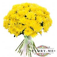 25 желтых кустовых хризантем с атласной ленточкой