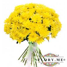 17 желтых кустовых хризантем с атласной ленточкой