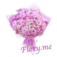 15 розовых кустовых хризантем в упаковке с атласной ленточкой